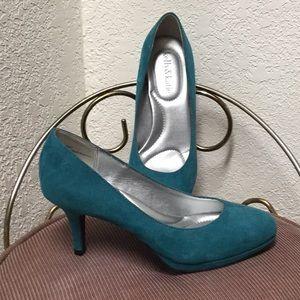 Teal suede heels